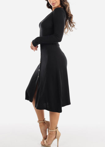 Image of Black Button Down Sweater Dress