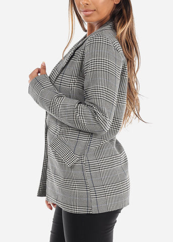 Image of One-Button Plaid Blazer with Navy Detail