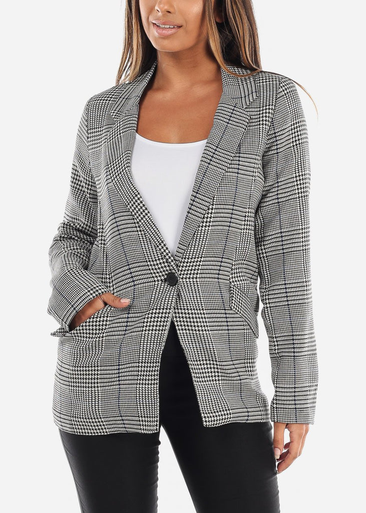 One-Button Plaid Blazer with Navy Detail