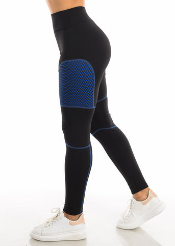 Image of Activewear Blue Mesh Black Leggings