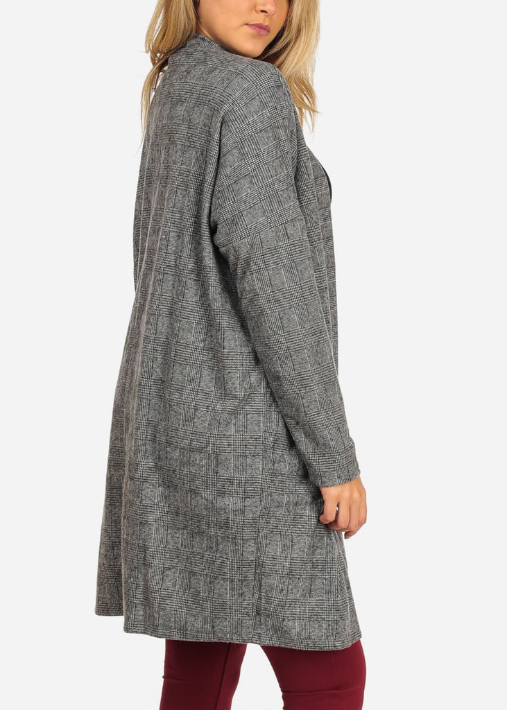 Women's Junior Ladies Stylish Open Front Long Sleeve Houndstooth Print Grey Long Sleeve Maxi Cardigan