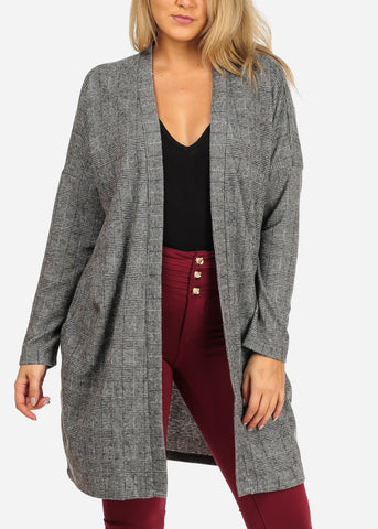 Image of Women's Junior Ladies Stylish Open Front Long Sleeve Houndstooth Print Grey Long Sleeve Maxi Cardigan