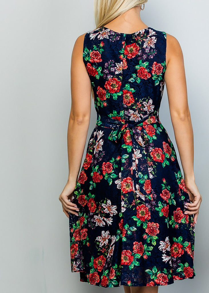 Fit & Flare Floral Lace Navy Dress