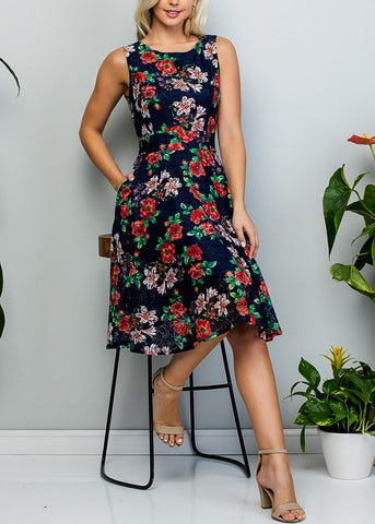 Image of Fit & Flare Floral Lace Navy Dress