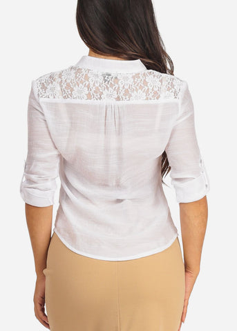 Image of Women's Junior Ladies Stylish Going Out Sexy 3/4 Roll Up Sleeve Floral Lace Detail Button Up Lightweight White Blouse Shirt Top