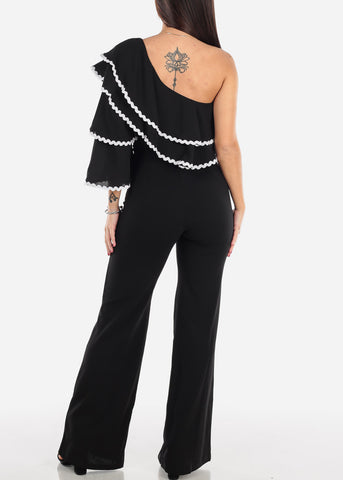 Image of Ruffled One Shoulder Black Jumpsuit