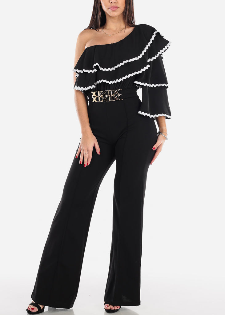 Ruffled One Shoulder Black Jumpsuit