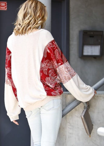 Long Sleeve Floral Print Beige Top