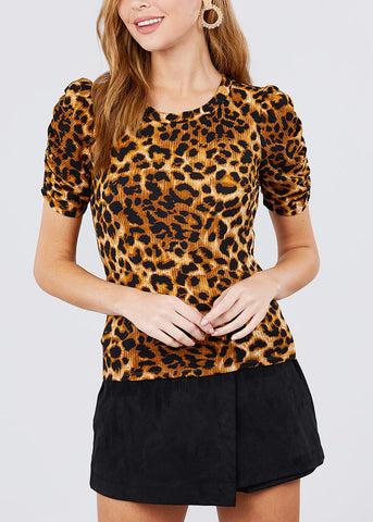 Brown Animal Print Top