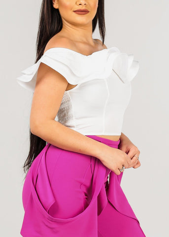 Image of Women's Junior Ladies Sexy Off Shoulder Ruffle Detail Solid White Crop Top