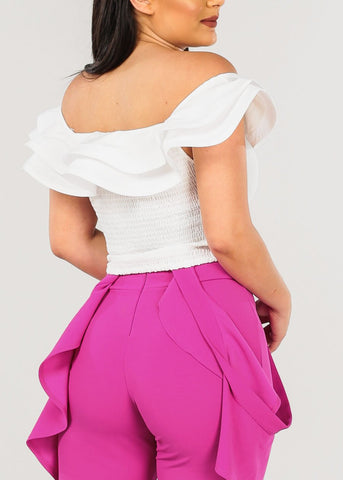 Off Shoulder Ruffled White Crop Top