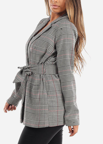Image of Front Tie Plaid Blazer with Red