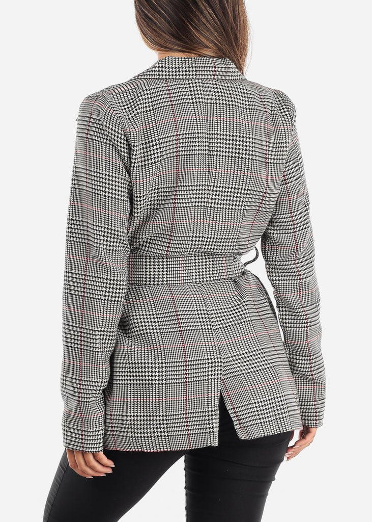 Front Tie Plaid Blazer with Red