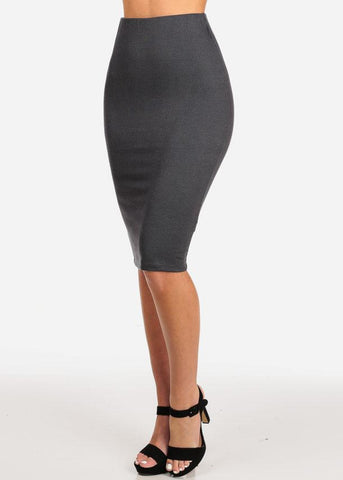 Women's Junior Ladies Professional Business Office Career Wear Sexy Pencil Pull On Stripe Dark Grey Charcoal Midi Skirt