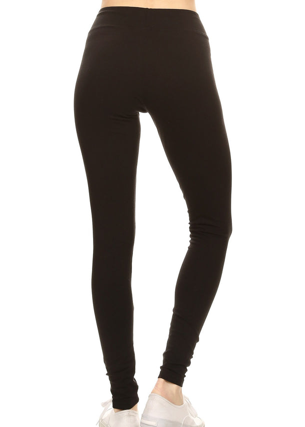 Solid Black Cotton Leggings