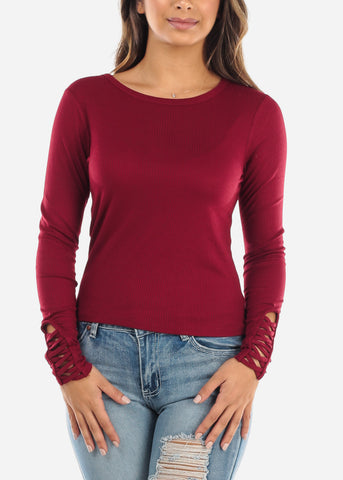 Criss Cross Sleeve Red Top