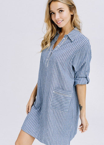 Image of 3/4 Sleeve Stripe Blue Shirt Dress