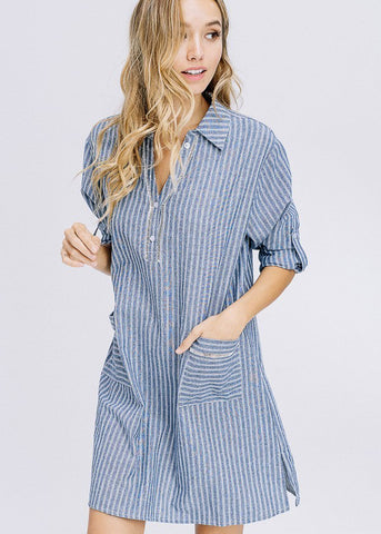 3/4 Sleeve Stripe Blue Shirt Dress