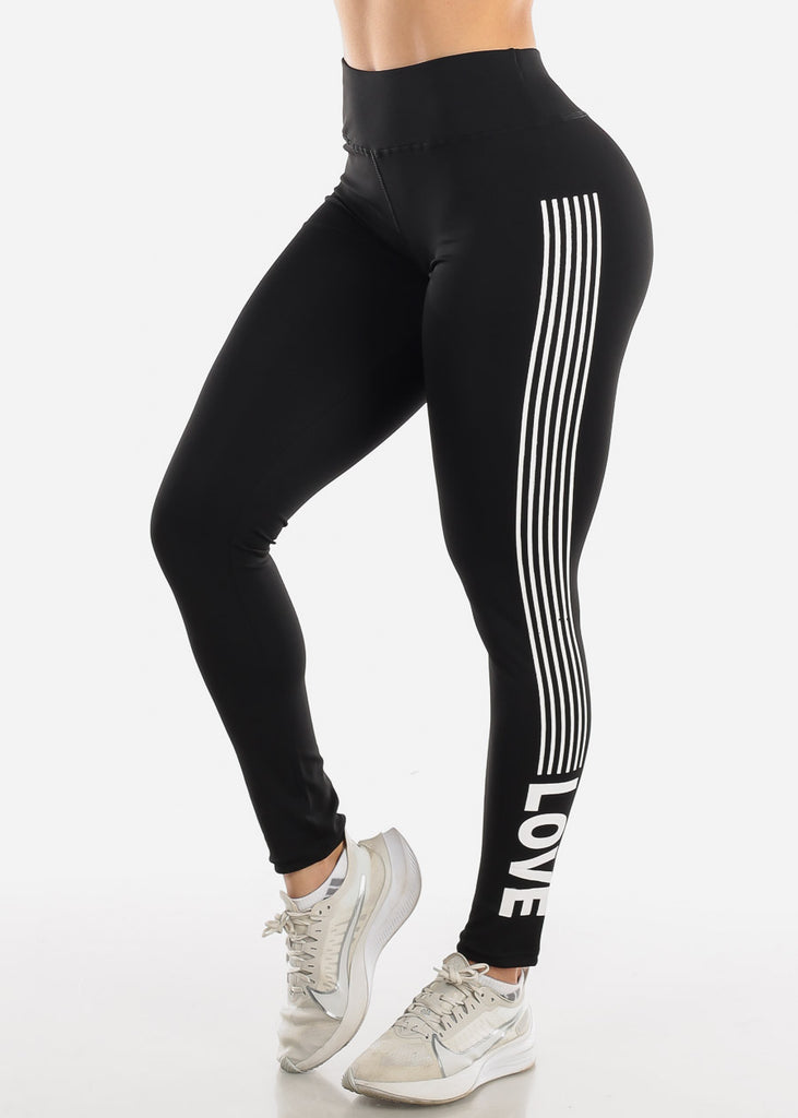 "Activewear Black Stripe Leggings ""Love"""