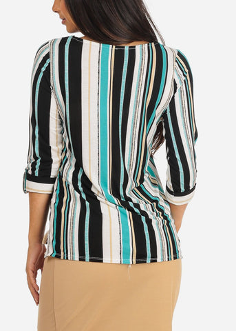 Women's Junior Ladies Dressy Stylish Going Out Cute Teal Stripe V Neckline Design Front Blouse Top