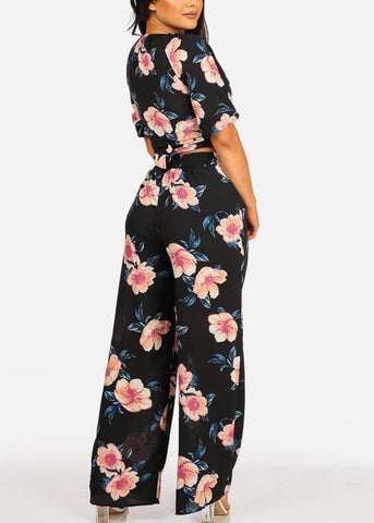 Image of Tie Front Crop Top And High Rise Black Floral Print Pants (2PCE SET)