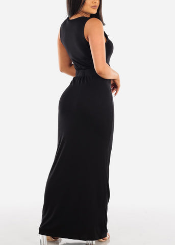 Sexy Casual Going Out Brunch Date Super Cute Black Maxi Long Dress With Slit