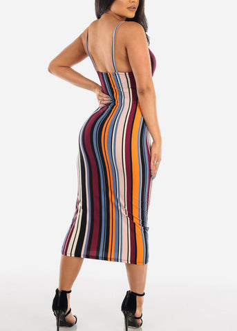 Sexy Sleeveless Stripe Print Padded Sweetheart Bust Bodycon Tight Fit Below The Knee Bodycon Midi Dress