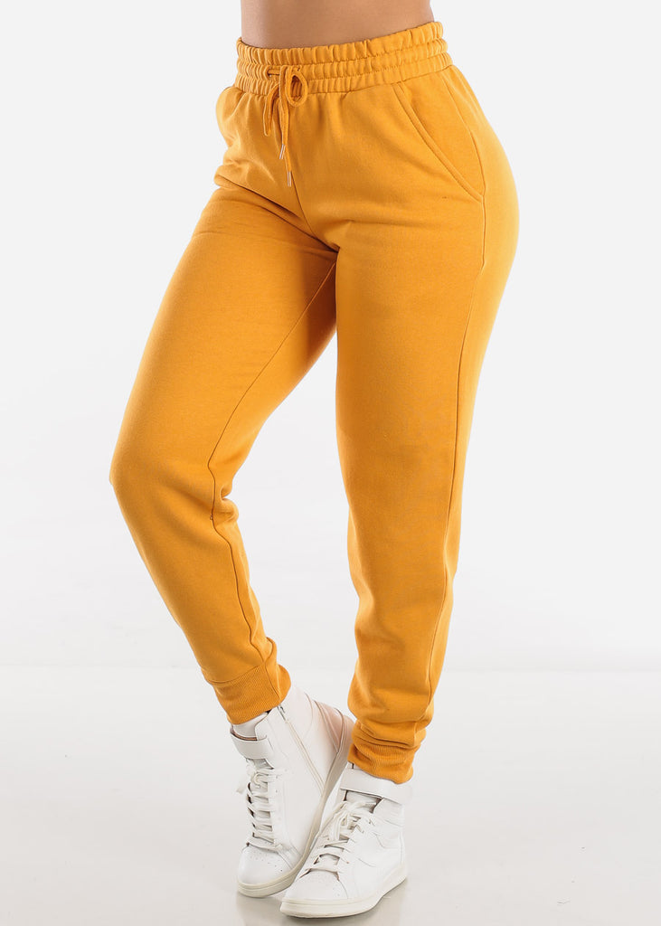 Fleece Mustard Jogger Pants