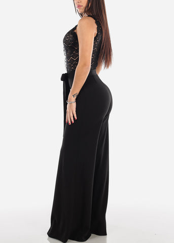 Image of Black Lace Bodice Jumpsuit