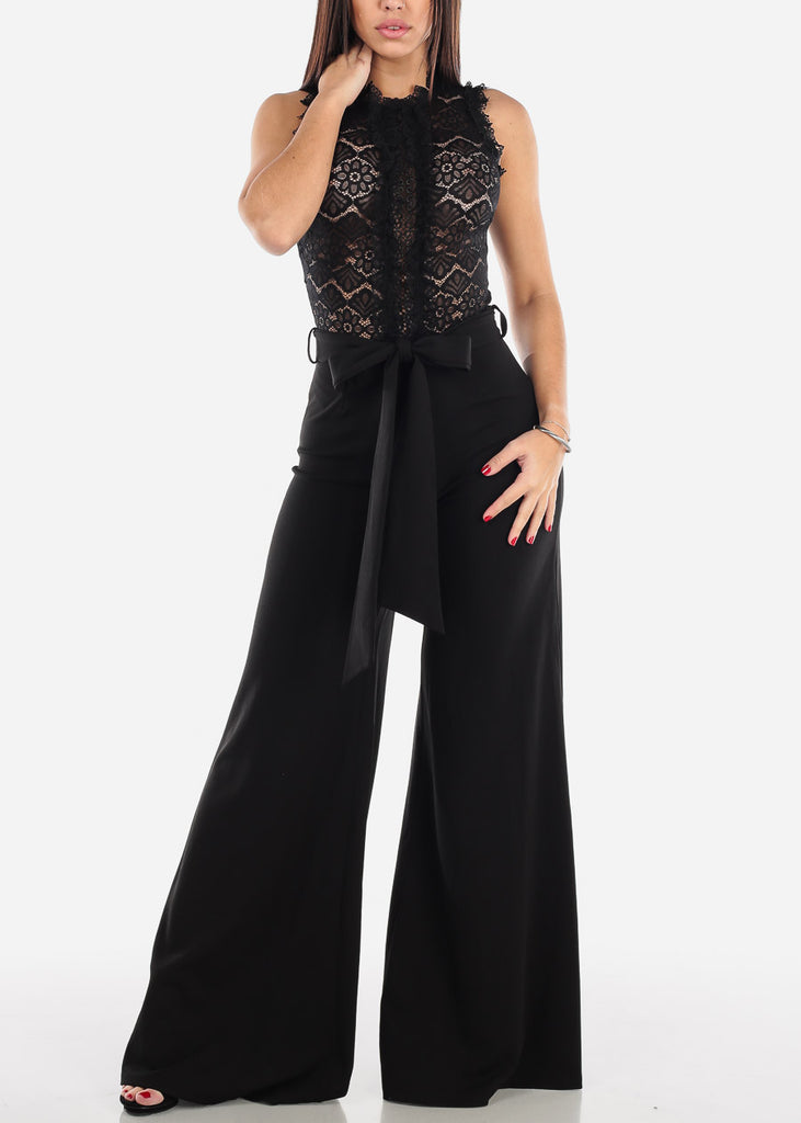 Black Lace Bodice Jumpsuit