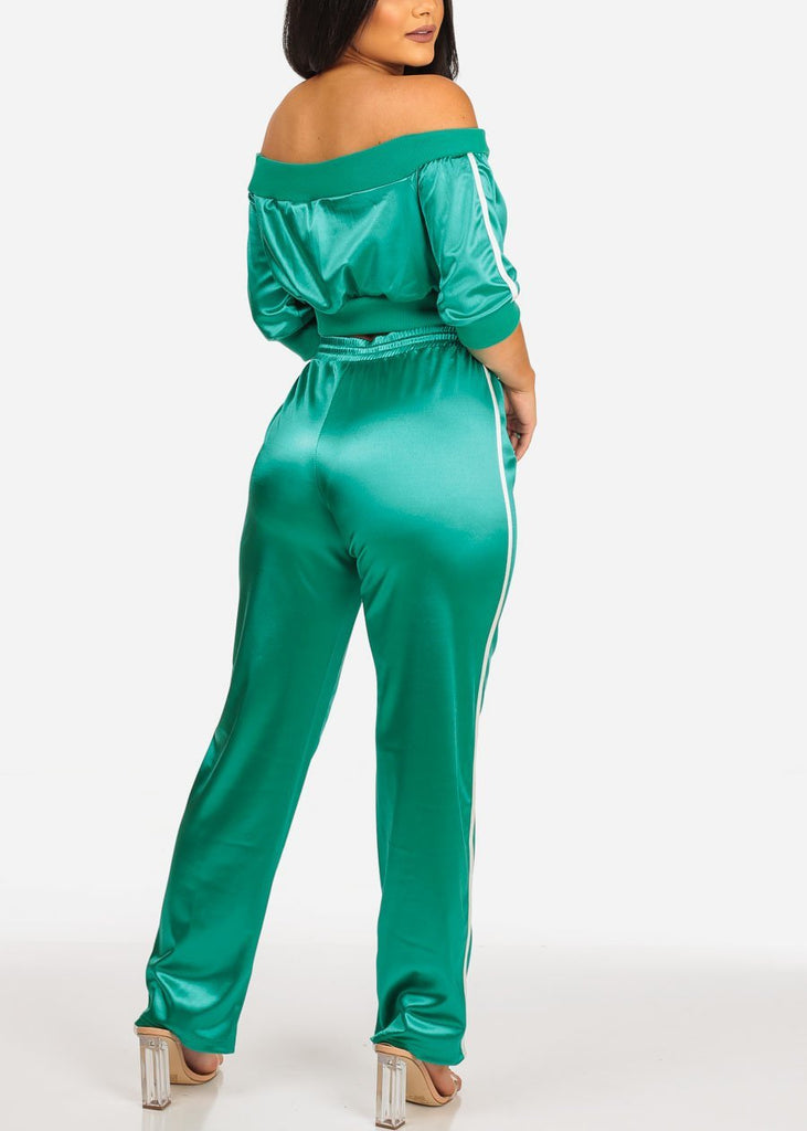 Women's Junior Stylish Going Out Off Shoulder Short Sleeve Silk Green Stripe Sides Crop Top And Drawstringwaist Pants Tracksuit For Women