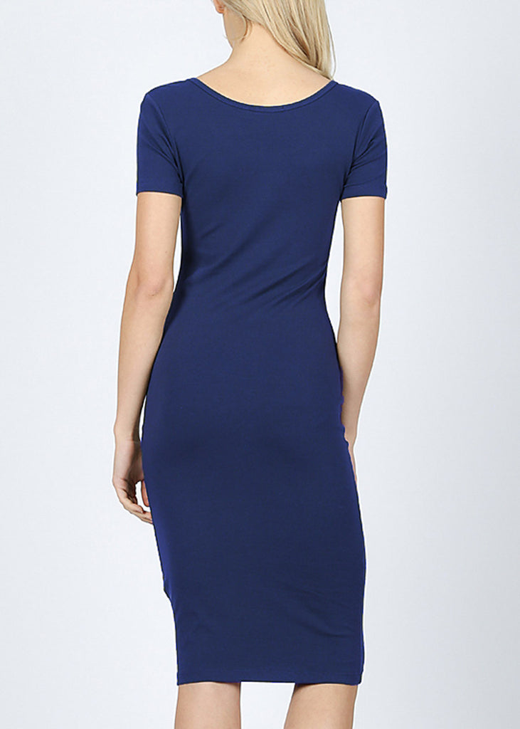 Navy Bodycon Midi Dress 4278PNVY