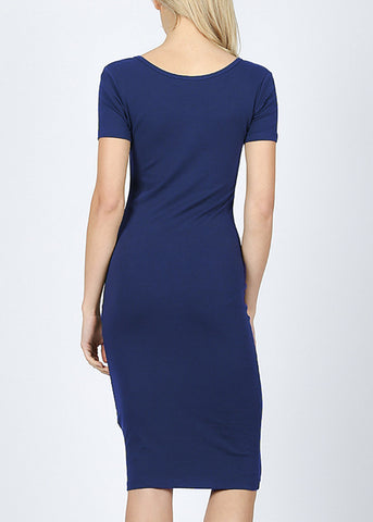 Image of Navy Bodycon Midi Dress 4278PNVY