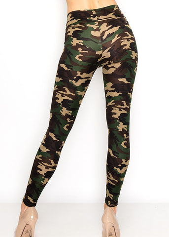 Image of High Rise Camo Print Stretchy Leggings