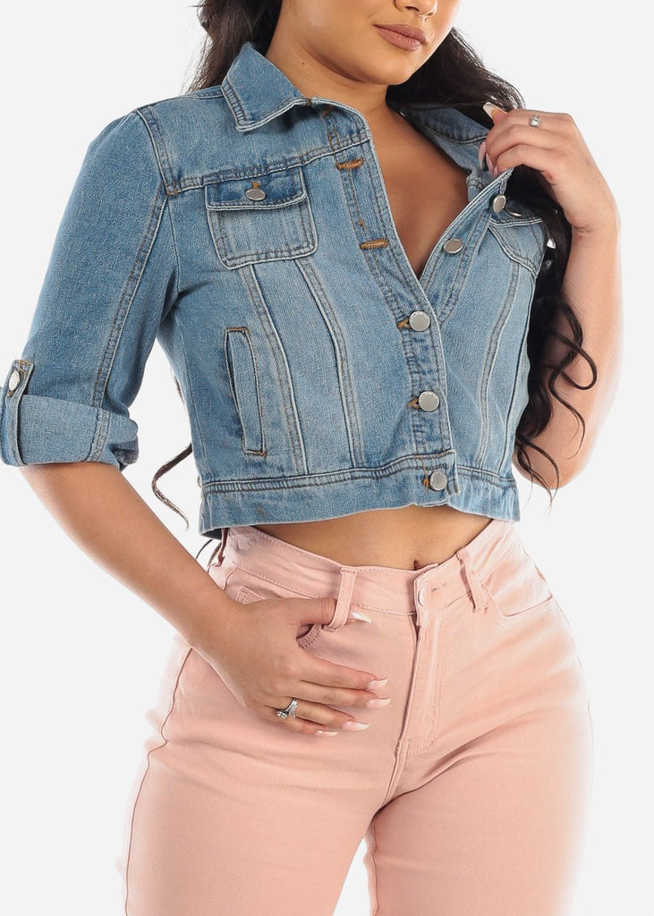 Trendy Stylish Button Up Roll Up Sleeve Light Wash Denim Cropped Jacket For Women Ladies Junior