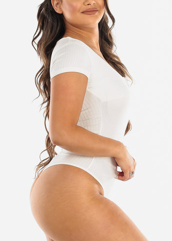 Plunge V-neck White Bodysuit