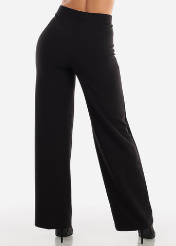 Image of Black Wide Legged Dressy Pants
