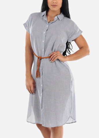 Image of Navy & White Stripe Belted Shirt Dress