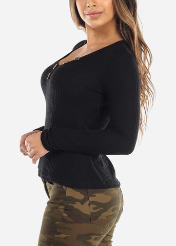 Black Button Front Long Sleeve Top