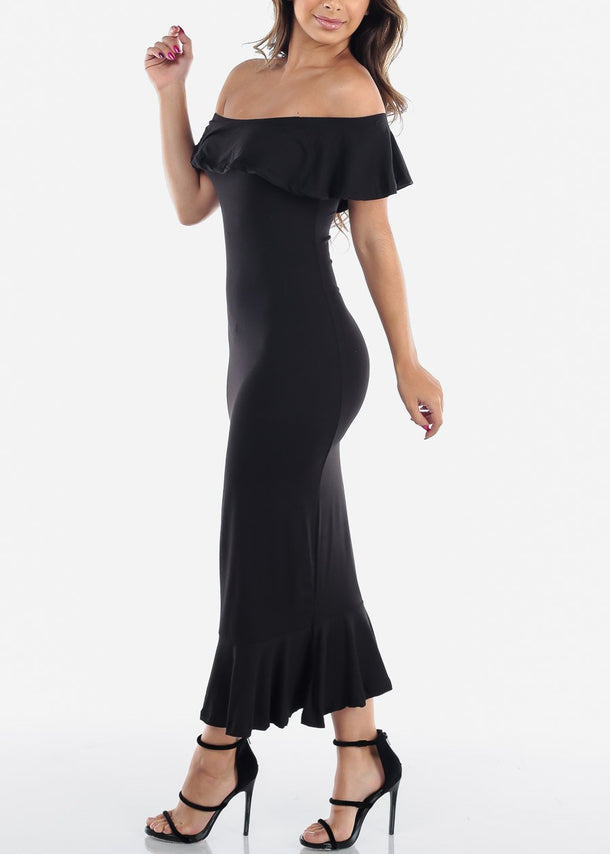 Off Shoulder Ruffled Black Bodycon Dress