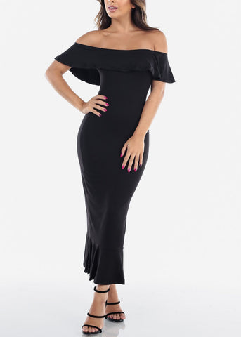 Image of Sexy Tight Fit Strapless Bodycon Mermaid Black Dress For Women Ladies Junior