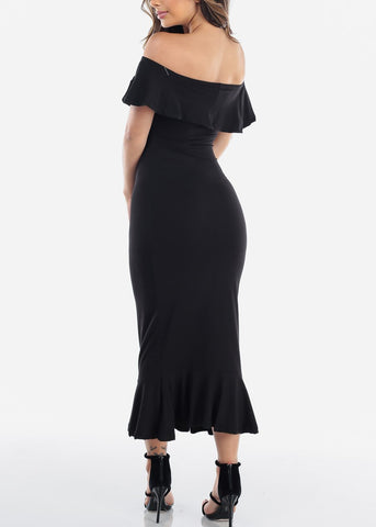 Image of Off Shoulder Ruffled Black Bodycon Dress