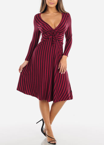 Striped Burgundy A-Line Dress