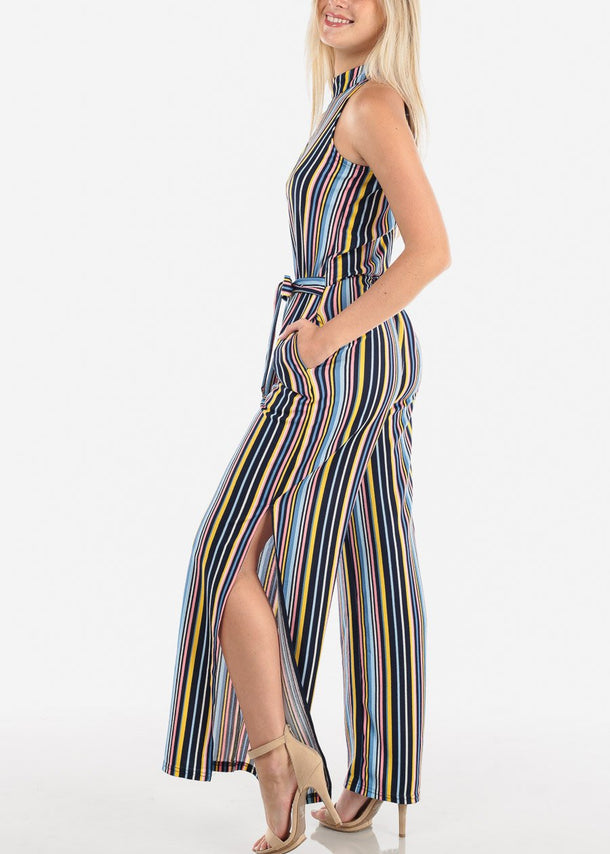 Sleeveless Halter Stripe Jumpsuit