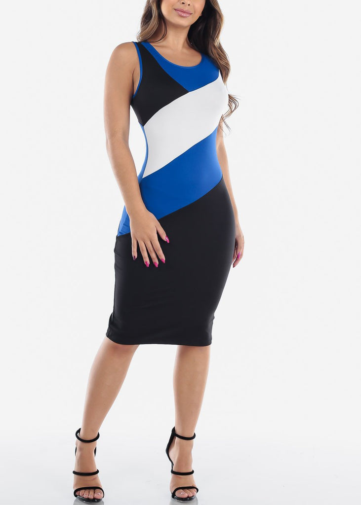 Sexy Tight Fit 2019 New Bodycon Stripe Blue White And Black Dress For Women Ladies Juniors