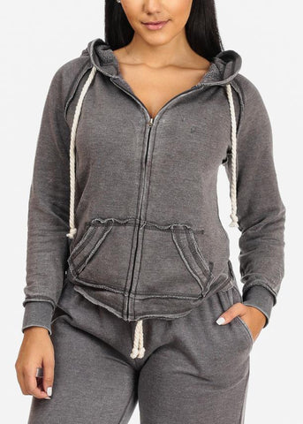 Charcoal Zip Up Faded Hoodie
