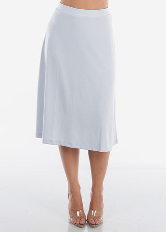 Image of A Line Light Blue Skirt
