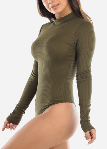 Image of Olive Mock Neck Bodysuit