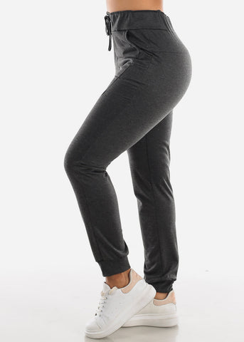 Image of Charcoal Drawstring Waist Jogger Pants