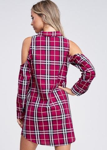 Image of Cold Shoulder Red Plaid Shirt Dress